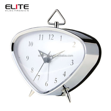 Triangle table clock with BB alarm and chrome plated case