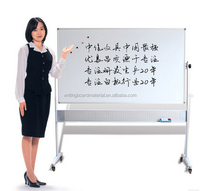 Double sides magnetic mobile white board with wheels magnetic stand whiteboard large magnetic boards
