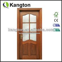 Mahogany wood veneer wood glass door