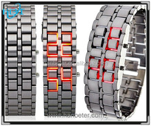 Good Quality Top Selling Iron Samurai Lava Led Watch Metal All Stainless Steel Watch