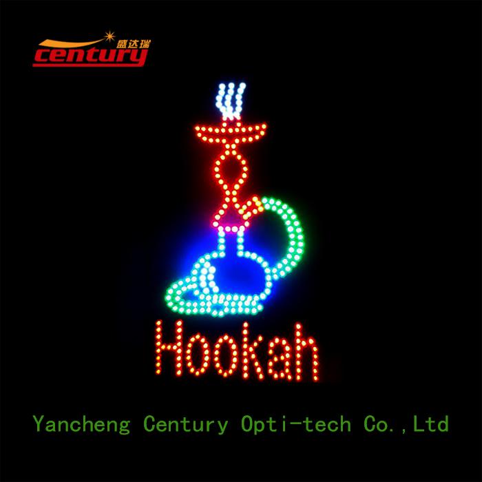 Oval Blue And Orange Open Neon Signage Turned On: Wholesale China Factory Price Hookah Open Animated Led