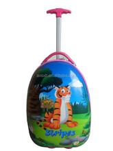"2015 fashion children 16"" ABS+PC hard shell on sale kids plastic traveling school bag 2 wheels printing trolley bag"
