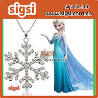 frozen Elsa snowflake Rhinestone Pendant with chains