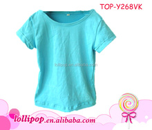 Best-selling fresh style turquoise plain colored baby t-shirt