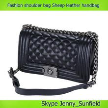 classic Rhombic pattern sheep skin leather fashion handbag lady handbag 2015