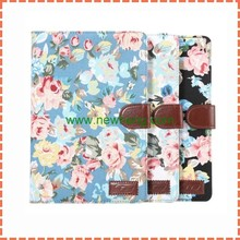 Vogue Style Floral Print Flip Cover Leather Fabric Case For Ipad Mini 4