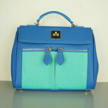 2014 fashion simplicity lake blue women quality leather hand bag factory direct