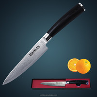 HUIWILL kitchen knife 5''Utility/Universal knife Japan VG10 damascus steel with Forged Black Micarta handle