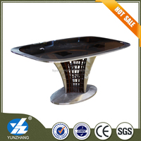 2015 glass top stainless steel frame dining table