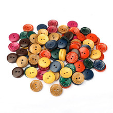 100pcs 2 Holes Mixed Colors Wooden Buttons Fit DIY Sewing Crafts Decoration