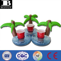 OEM factory plam tree inflatable drink holder folding pool floating drinks holder outdoor camping cup holders