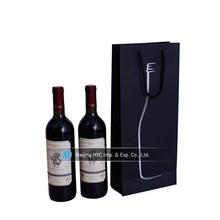 Black wine bottle print different style paper carry bag in box