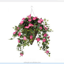 high quality hanging artificial morning glory flower in decorative basket for indoor&outdoor decoration