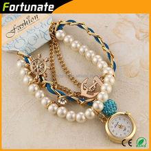 Purple Color Heart Pendant 2012 Jewelry New Design Ladies Pearl Bracelet Watch