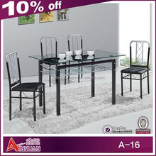 A-16 Modern glass top metal base dining table from China manufacturer