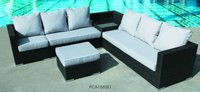 6 Piece Cafe Rattan Sofa Sectional Set