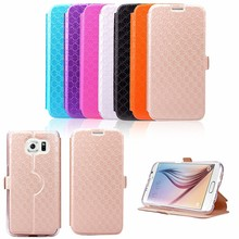 Wholesale OEM luxury leather phone cases/ Leather Flip Cover for Samsung S6
