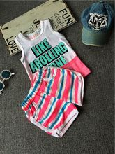 Piece summer new wave of children's clothing for boys and girls striped sleeveless vest + shorts suit