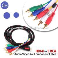 5 M HDMI to 5 RCA Audio Video AV Component Cable nylon mesh