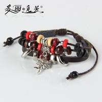 Folk Style Jewelry Ceramic Hemp Leather Angel Leaf Fish Fox Leather Bracelet