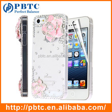 Set Screen Protector And Case For Iphone 5 , Hard Plastic Pink Diamond Flower 3D Cell Phone Case