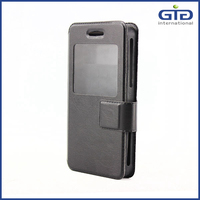 [GGIT]universal mobile phone leather case with window black