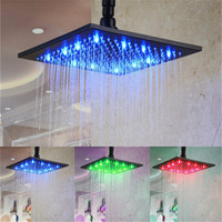 8 inch Top ceiling led rain overhead shower with temperature control type(Blue, Green Red color for temperature sensor type)