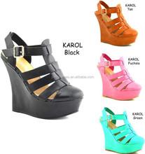 Nice colorful lady wedge sandal shoes (KAROL)