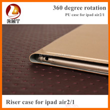 High Quality 360 Degree Rotating Stand Leather Case Smart Cover for ipad air Case new arrival stock