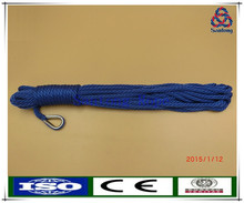 Solid braid blue pp anchor rope with snap hook