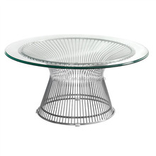small coffee wire Platner Low Table with glass top