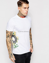 Cotton Custom Water Printed White Summer Tee Hot Basic Mens Cut And Sew T-Shirt