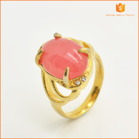 2015 Fashion 18k plating gold stainless steel casting opal rings