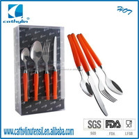 2015 Cathylin sample free promoational knife and fork spoon travel set double injection plastic handle cutlery