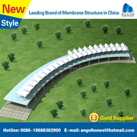 Tensile fabric membrane roof structure