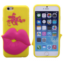 love lip shape 4.7 inch silicone mobile phone case for iphone 6