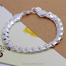 2015 Wholesale Silver tone mens high class plain silver bracelet