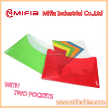 Tinted colorful Office storage plastic fc a4 size 2 pockets File Folder Document Envelope Bags with button for Dubai Markets