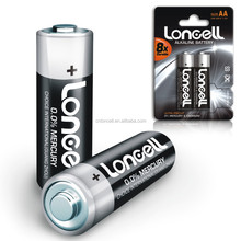 LONCELL Brand 2450mAh 1.5v aa am3 LR6 alkalion batteri with low price