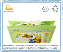 Fancy Cartoon ribbon closure 6 pockets paper accordion file folder, custom printed presentation folders