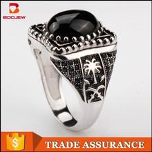 2015 wholesale fashion popular vintage retro black agate stone 925 sterling silver men rings