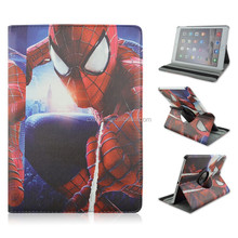 Spinning Spider-man PU Leather Smart Tablet Case For iPad air 2, Rotary Folio Stand Cover Case, Factory Sale