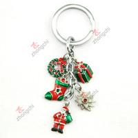 Fashion Christmas Festival metal keychain, Santa Claus gift key ring for kids
