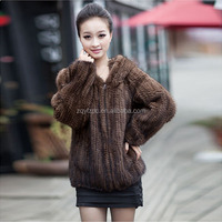 New Style real fur coat Fashionable Lady's knitted Mink Fur Coat