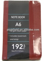 A6 pattern paper cover note book, red color