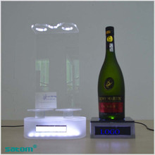 Factory direct price cool blue acrylic wine bottle display holder