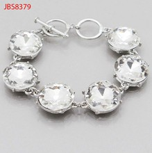 Factory direct sale fashion round glass crystal connect toggle jewelry bracelet