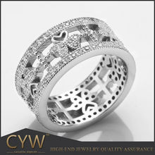 CYW butterfly heart Ribbon wax micro pave setting nice 925 sterling silver ring jawelry