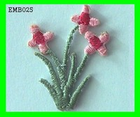 Simple Beautiful Pink Flowers Embroidery Design Iron - On Patches For Dresses