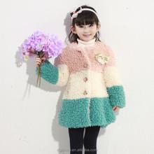2015 new design beautiful color long min fur coat for children 4-12y